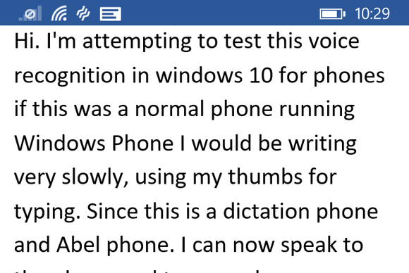 windows 10 phone preview speech recognition
