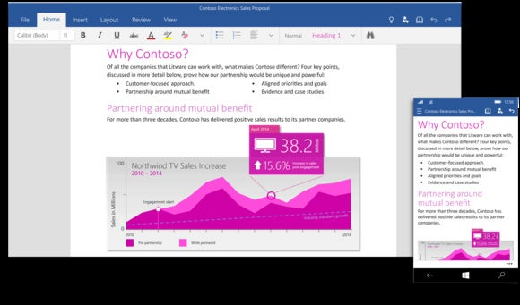 Microsoft Word Windows 10 touch