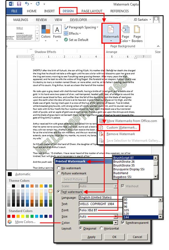 Create a custom text watermark
