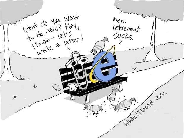 Cartoon with Clippy and Internet Explorer in retirement