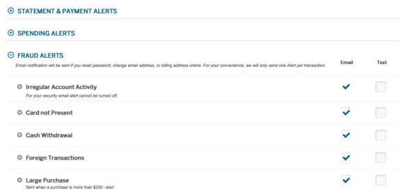 amex web site fraud settings