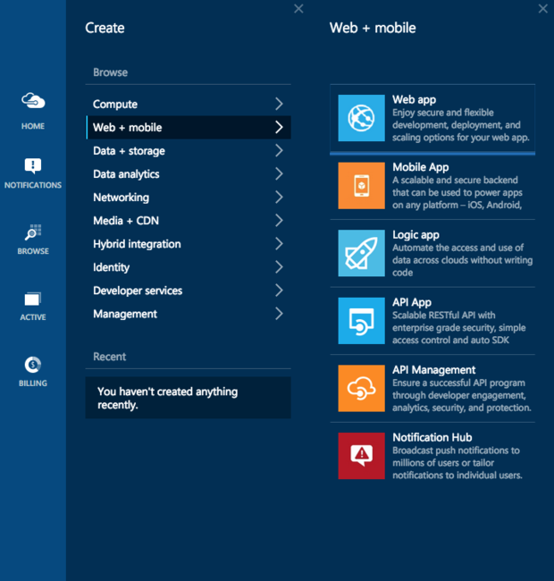 Azure Web and mobile app services