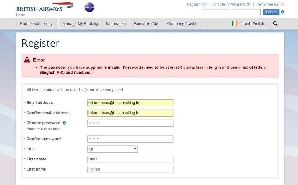 British Airways Password Requirements