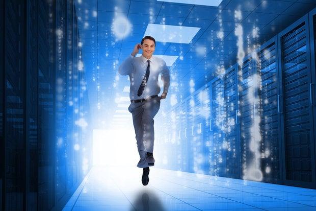 businessman datacenter servers