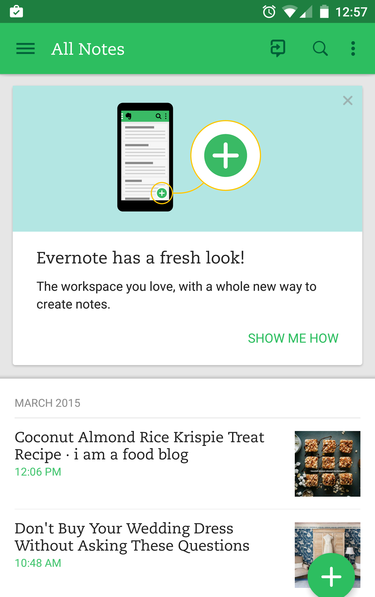 evernote newlook