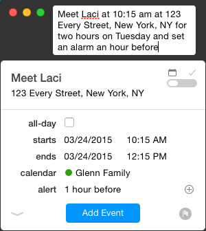 fantastical 2 add an event