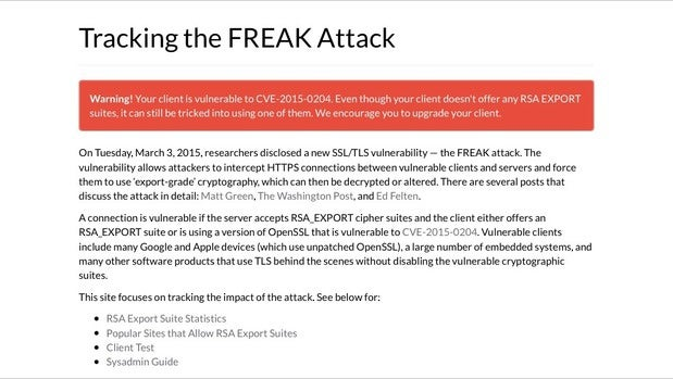 Safari on iOS 8.1 is vulnerable to FREAK attacks
