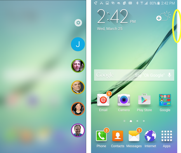 Galaxy S6 Edge home screen and edge display