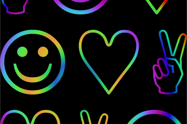 groovy peace sign heart smiley face psychedelic 60s rainbow
