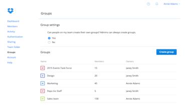 Dropbox for Business groups feature screenshot