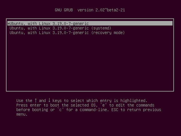 grub systemd boot option