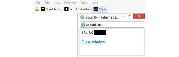 My IP bookmarklet script running in Internet Explorer.