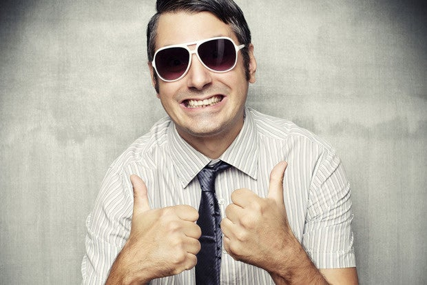 man sunglasses thumbs up