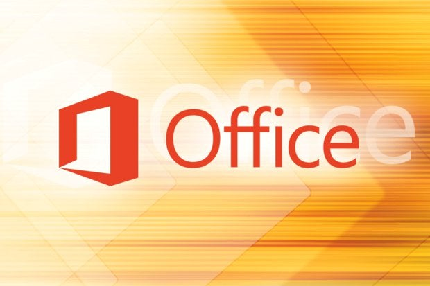 Microsoft Office logo [orange background pattern]
