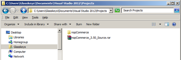 Extract source to Visual Studio projects folder