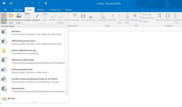 office 2016 preview recently used office files