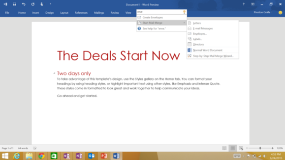 office 2016 preview search box