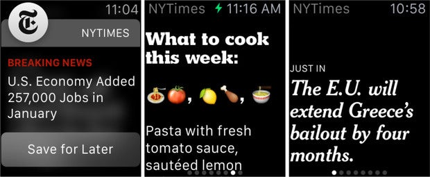 NY Times content for the Apple Watch