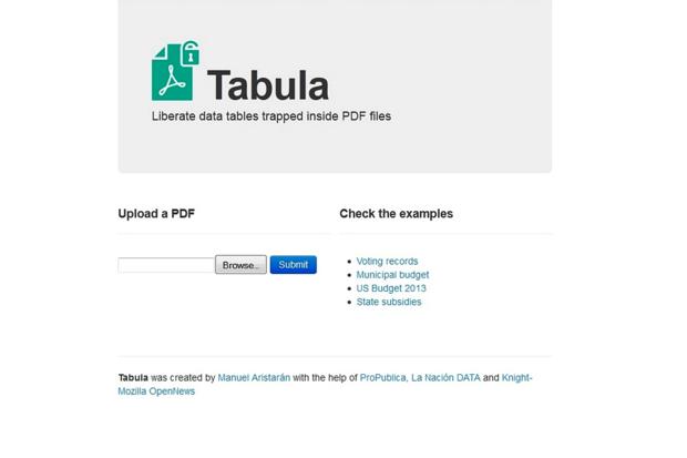 Tabula screenshot