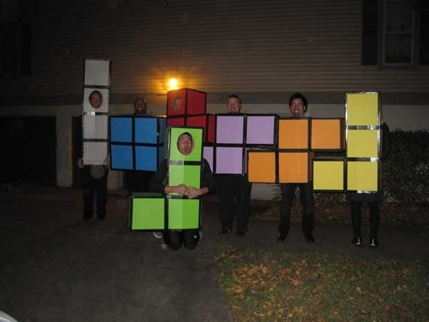 A group of people dressed as Tetris pieces