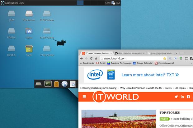 Ubuntu Xfce and Chrome OS running simultaneously