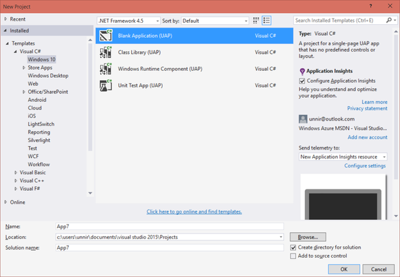 visual studio 2015 windows 10 apps