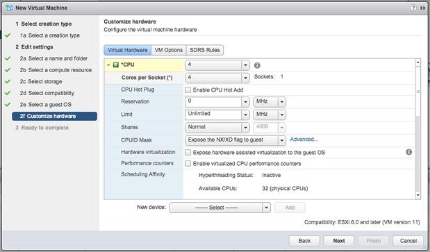 VMware vSphere 6 new VM