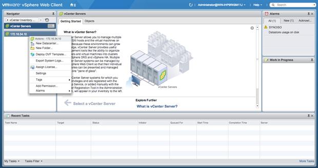VMware vSphere 6 Web client menus