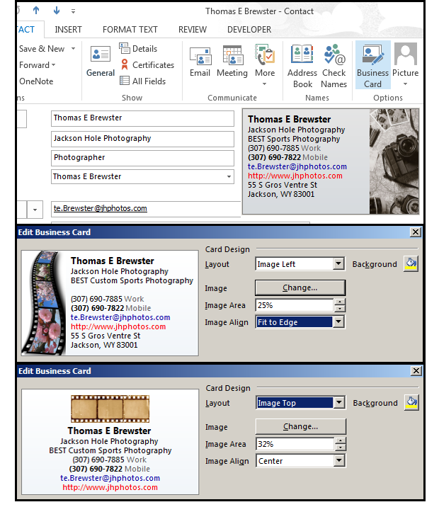Create an electronic card in outlook for all your business email additional image options reheart Image collections