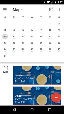 Google Calendar app for Android