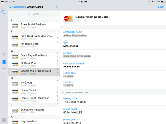 1password credit cards