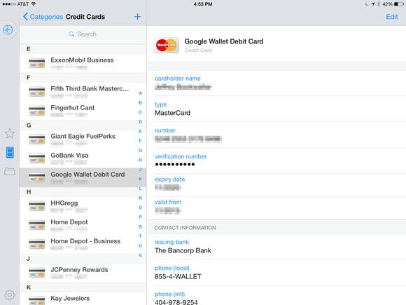 1password credit cards