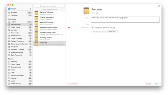 1password secure notes