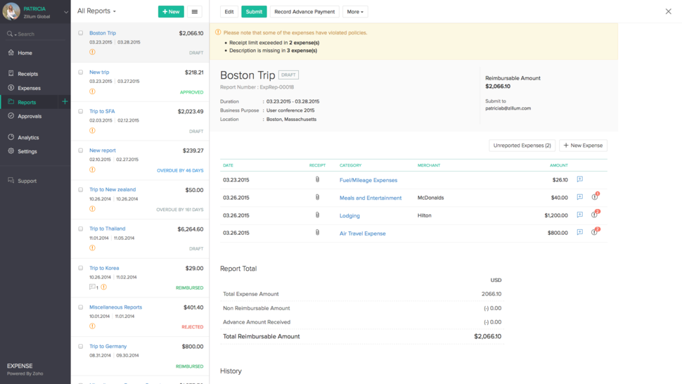 zoho bolsters cloud tools with expense report features cio