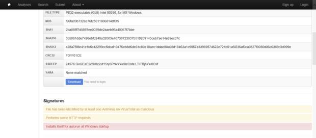 Malwr malware detection 2