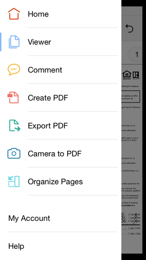 adobe acrobat dc mobile menu