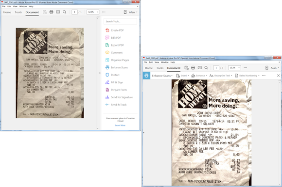 adobe acrobat enhance scan before after