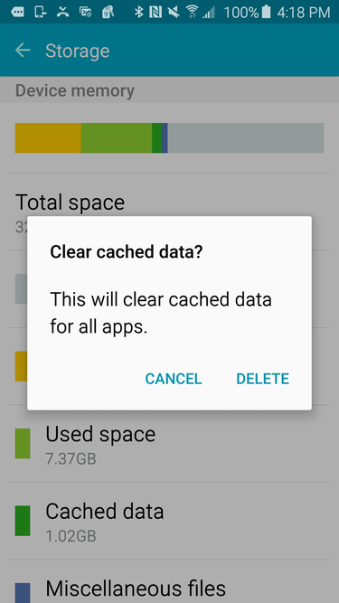Android clear all cache