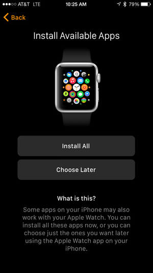 apple watch app install