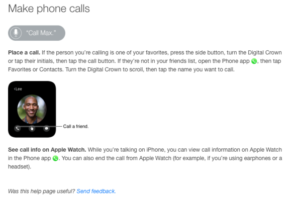 apple watch user guide phonecalls