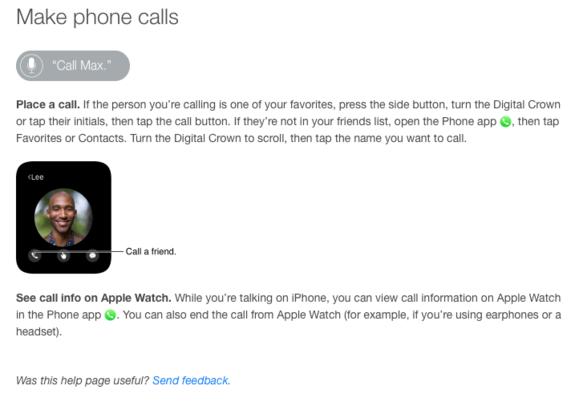 apple watch user guide phonecalls