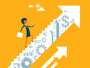 A business woman climbs financial stairs of growth and development.