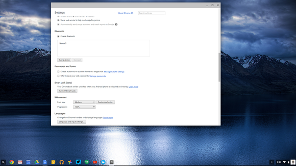 chrome bluetooth settings