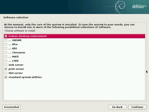 debian installer desktop environment