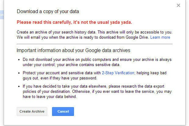 How to download an archive that shows what Google knows