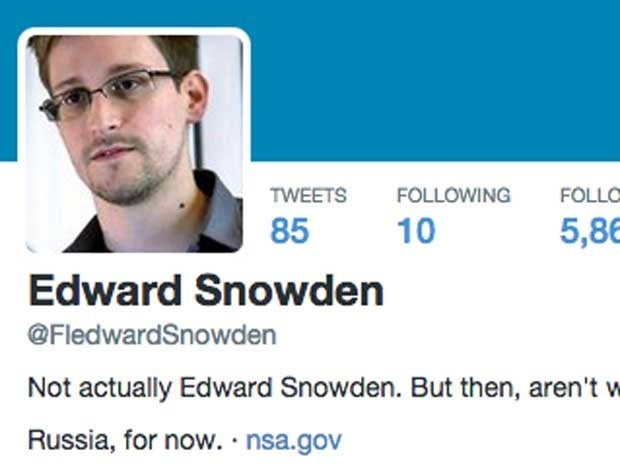Screenshot of Twitter profile FledwardSnowden