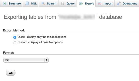 base de datos de exportación