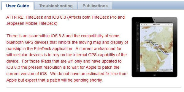 FliteDeck Pro compatibility issue with iOS 8 Jeppesen