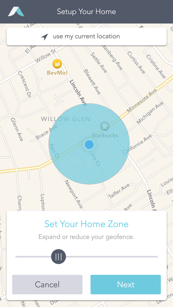 Abode mobile app with geo-fencing