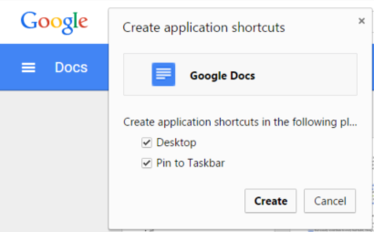 How to add a desktop shortcut to Google Docs or a specific